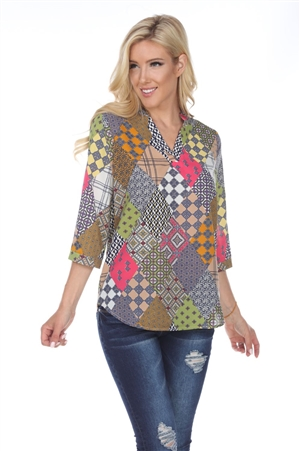 Wholesale Clothing Women's Print Multi 3/4 Sleeve V Neck Top -VB-3092-A