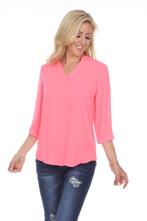 Wholesale Clothing Women's 3/4 Roll Up Sleeve V Neck Top -VB-3093-A
