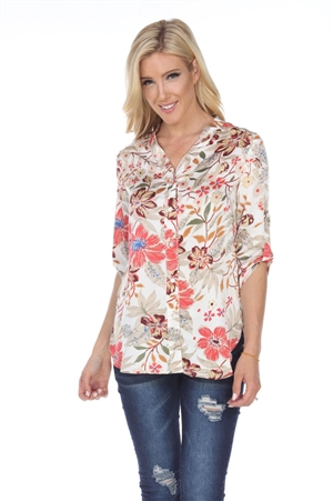 Wholesale Clothing Women's Floral Print 3/4 Sleeve V Neck Button Down Tunic Top -VB-3094-A