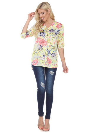 Wholesale Clothing Plus Size Women's Floral Print 3/4 Sleeve V Neck Button Down Tunic Top -VB-3094-B