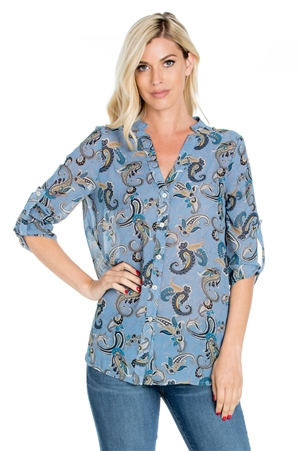 Wholesale Clothing Plus Size Women's Paisley Print 3/4 Roll Up Sleeve Button Down Top -VB-4002-B