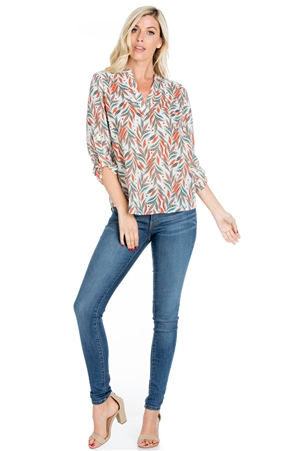 Wholesale Clothing Plus Size Women's Print 3/4 Roll Up Sleeve V Neck Top -VB-4005-B