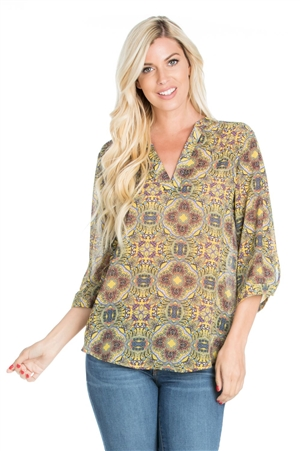 Wholesale Clothing Plus Size Women's Abstract Print 3/4 Sleeve V Neck Top -VB-4006-B