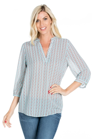 Wholesale Clothing Plus Size Women's Geo Print 3/4 Sleeve V Neck Top -VB-4007-B