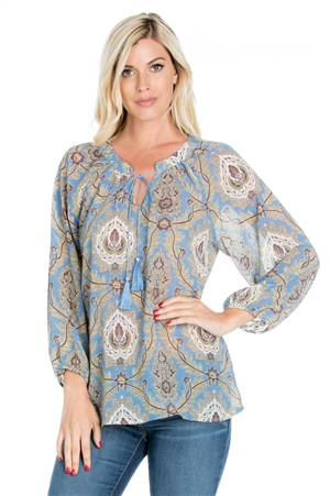 Wholesale Clothing Plus Size Women's Floral Print 3/4 Sleeve Tunic Top -VB-4008-B