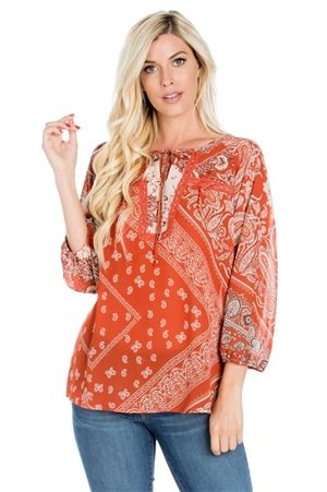 Wholesale Clothing Plus Size Women's Print 3/4 Sleeve Tunic Top with Crochet Trim -VB-4009-B