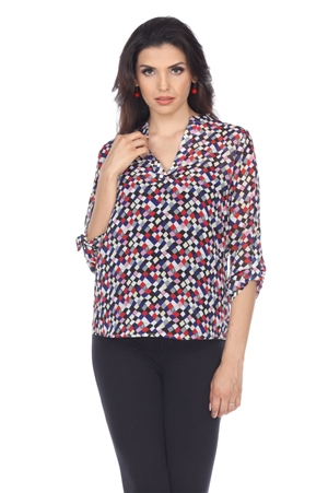 Wholesale Clothing Women's Polka Dot Print 3/4 Sleeve Banded V Neck Tunic Top -VB-4010-A