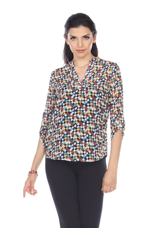 Wholesale Clothing Plus Size Women's Polka Dot Print 3/4 Sleeve Banded V Neck Tunic Top -VB-4010-B