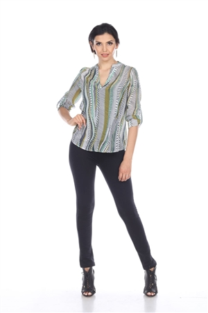 Wholesale Clothing Plus Size Women's Abstract Print 3/4 Sleeve Banded V Neck Tunic Top -VB-4011-B
