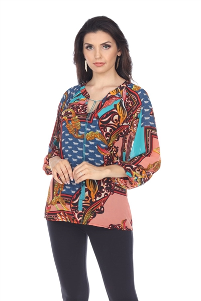 Wholesale Clothing Women's Abstract Print 3/4 Sleeve Front Tie Open Neck Top -VB-4012-A