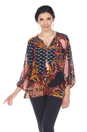 Wholesale Clothing Plus Size Women's Abstract Print 3/4 Sleeve Front Tie Open Neck Top -VB-4012-B