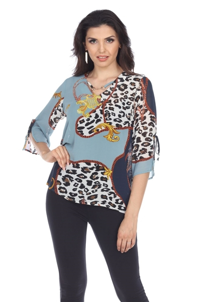 Wholesale Clothing Women's Animal Print 3/4 Sleeve Jewel Open Neck Top -VB-4013-A