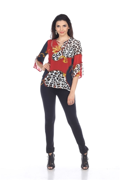 Wholesale Clothing Plus Size Women's Women's Animal Print 3/4 Sleeve Jewel Open Neck Top -VB-4013-B