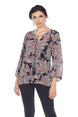 Wholesale Clothing Women's Paisley Print 3/4 Sleeve Front Tie Open Neck Tunic Top -VB-4014-A
