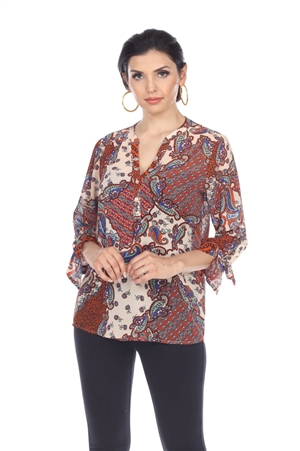 Wholesale Clothing Women's Paisley Print Long Sleeve Button Up Banded Neck Tunic Top -VB-4015-A