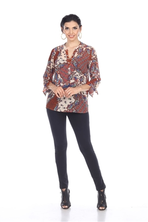 Wholesale Clothing Plus Size Women's Paisley Print Long Sleeve Button Up Banded Neck Tunic Top -VB-4015-B