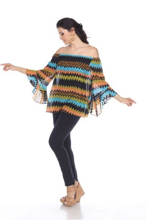 Wholesale Clothing Women's Missoni Print 3/4 Flared Sleeve Peasant Top -VB-4019-A