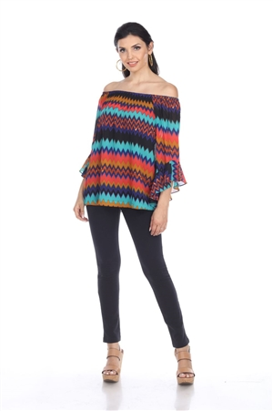 Wholesale Clothing Plus Size Women's Missoni Print 3/4 Flared Sleeve Peasant Top -VB-4019-B