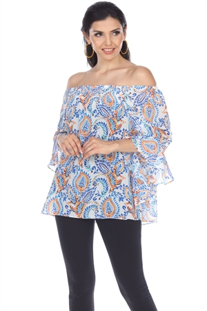 Wholesale Clothing Women's Paisley Print 3/4 Flared Sleeve Peasant Top -VB-4020-A