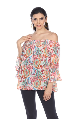 Wholesale Clothing Plus Size Women's Paisley Print 3/4 Flared Sleeve Peasant Top -VB-4020-B