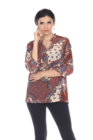 Wholesale Clothing Women's Paisley Print 3/4 Sleeve Gathered Neck Tunic Top -VB-4023-A