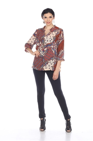 Wholesale Clothing Plus Size Women's Paisley Print 3/4 Sleeve Gathered Neck Tunic Top -VB-4023-B