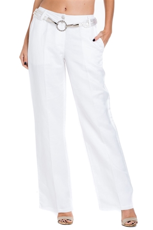 Women's Elegant Linen Dress Pant with Rhinestone Belt