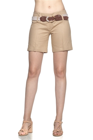 Wholesale Fashion Sexy Casual Mid Thigh Length Linen Belted Short | NaturalCollectionCorp.Com
