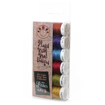71240 - 12 wt Sulky Petites 6 pack - Plays with wool Jewel Tones