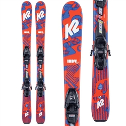 K2 Indy Skis and 4.5 FDT Bindings 2021  Blue and Orange Colorway