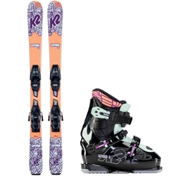 K2 Luv Bug Skis, Boots, and 7.0 FDT Bindings 2021  Orange and Purple Colorway