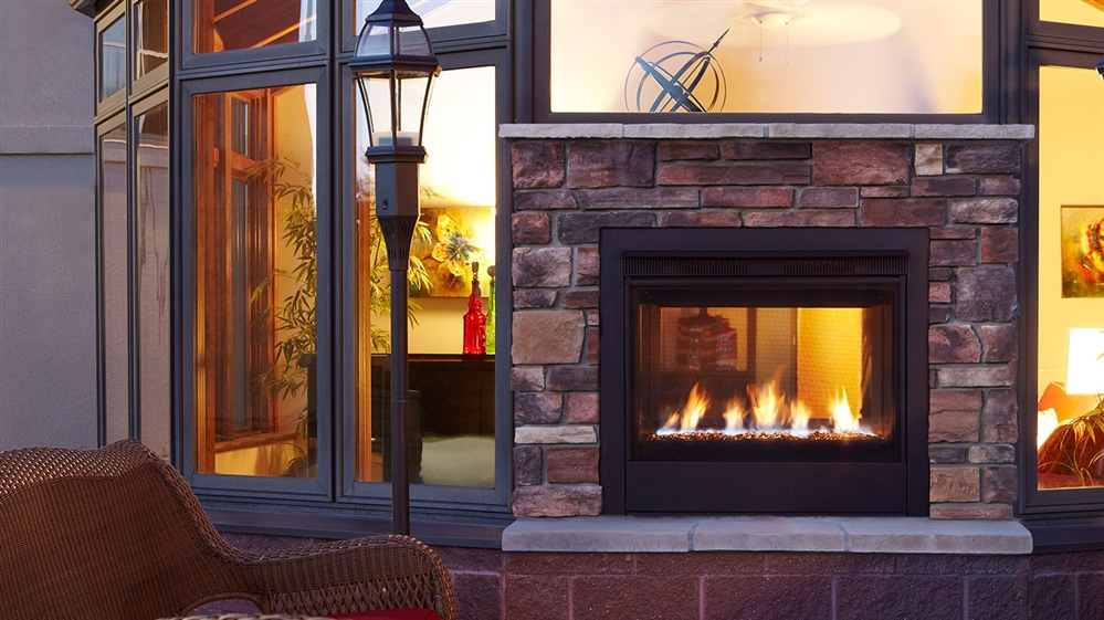 Majestic Indoor Outdoor Gas Fireplace Twilight Modern
