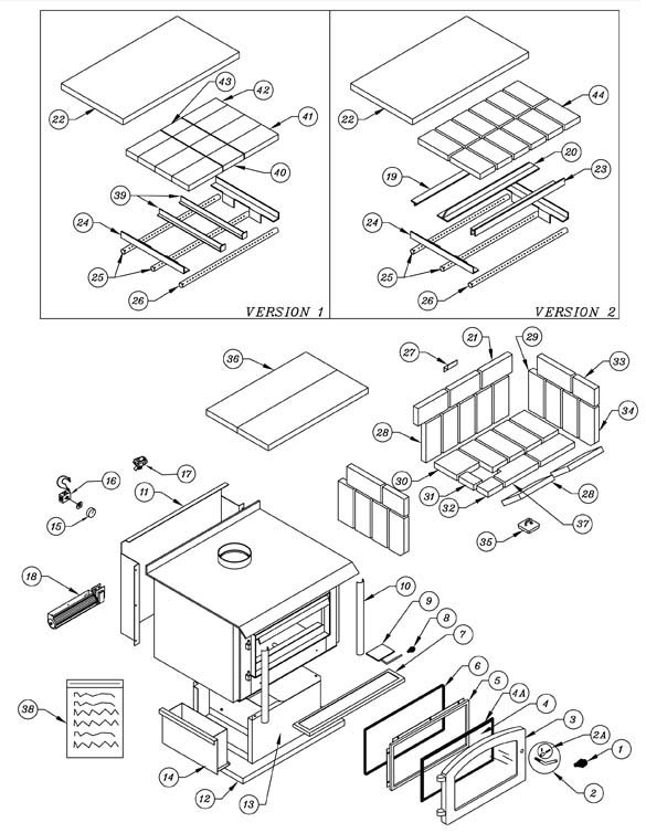 Osburn 2400 wood stove parts diagram older version