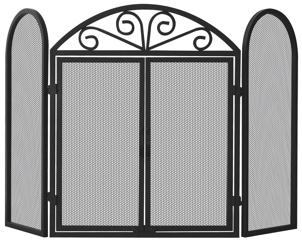 Uniflame 3 Fold Black Fireplace Screen With Arch Scroll