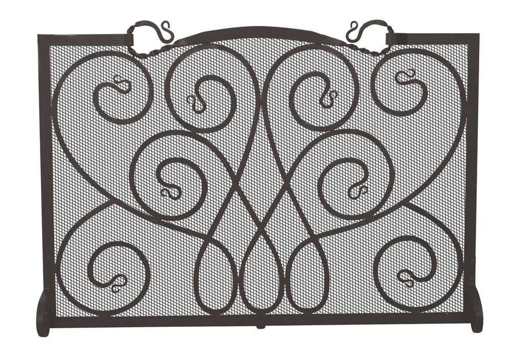 uniflame fireplace screen uniflame single panel black ornate fireplace screen