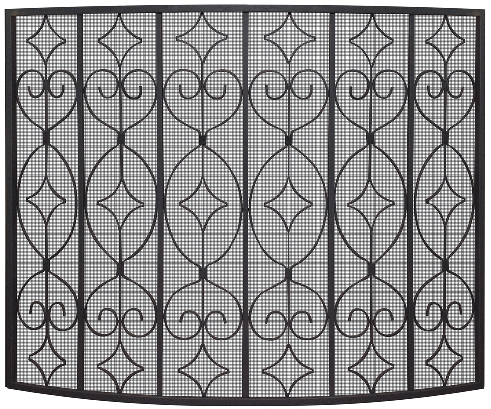 uniflame fireplace screen black wrought uniflame black curved ornate fireplace screen