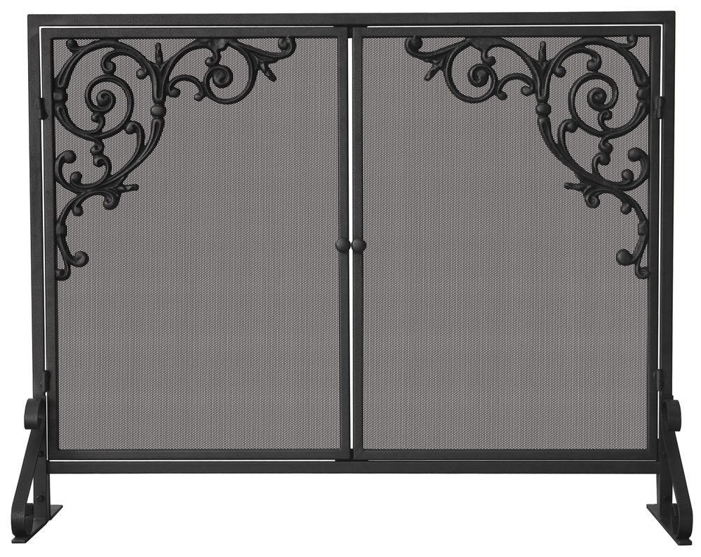6e9dc57a692 Uniflame Single Panel Fireplace Screen with Doors   Cast Scrolls