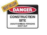 DANGER CONSTRUCTIONS SITE.. 600X450 FLU