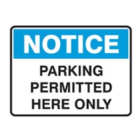 NOTICE PARKING PERMITTED..600X450 FLU