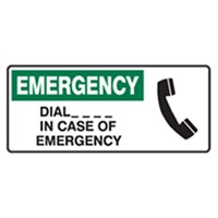 EMERGENCY DIAL IN CASE OF.. 450X180 MTL