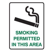 SMOKING PERMITTED IN THIS AREA LBLS PK5
