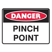 SMALL STICK-ON LABELS - DANGER PINCH POINT
