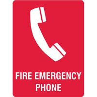 FIRE SIGN FIRE EMERGENCY PHONE SS GLO