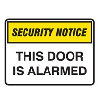 SECURITY SIGN THIS DOOR IS..450X300 POLY