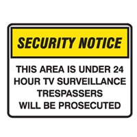 SECURITY SIGN THIS AREA IS..600X450 POLY