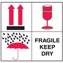 SHIP LABELS FRAGILE KEEP DRY 100X100