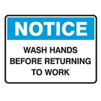 NOTICE WASH HANDS BEFORE..450X300 POLY