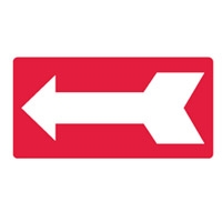 D.SIGN ARROW 350X180 LUM M WHT/RED