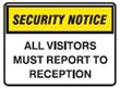 SECURITY SIGN ALL VISITORS..250X180 SS