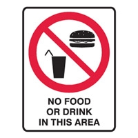 NO NO.0 OR DRINK IN THIS AREA LBLS PK5
